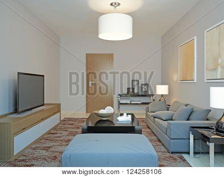 Roomy living room in minimalism. 3d render