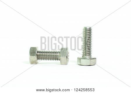 The hex head screw on white background.