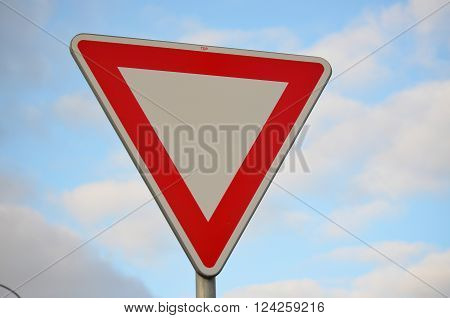 traffic sign, Give right of way, South Bohemia, Czech Republic