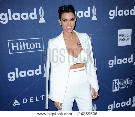 Ruby Rose at the 27th Annual GLAAD Media Awards held at the Beverly Hilton Hotel in Beverly Hills, USA on April 2, 2016.