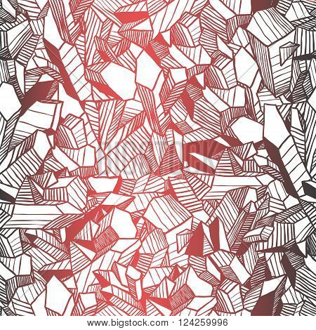 Seamless vector retro pattern with crystals and old film effect