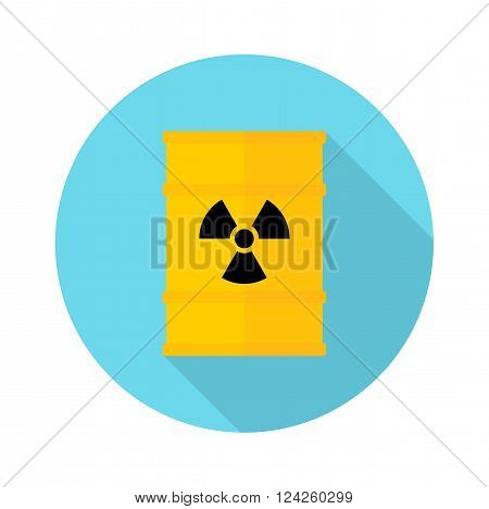 Barrel with hazardous chemicals. Ecology design concept with air water and soil pollution. Flat icons isolated vector illustration.