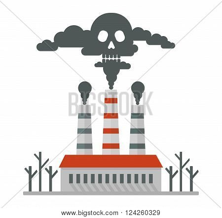 Deadly smoke in the air. Poisonous plant emissions poison the atmosphere. Ecology design concept with air water and soil pollution. Flat icons isolated vector illustration.