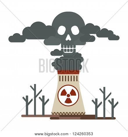 Thermal power stations allocates toxic emissions. Deadly smoke in the air. Poisonous plant emissions poison the atmosphere. Ecology design concept with air water and soil pollution. Flat icons isolated vector illustration.