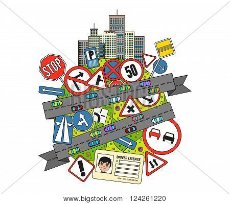 Colorful doodle Illustration on road traffic regulations and road signs with a composion of traffic signs, city buildings and roads with cars
