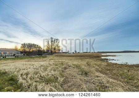 scenic landscape at backwater lake in Usedom in Zempin