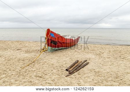 Old Wooden Fishermens Ship At The Beach