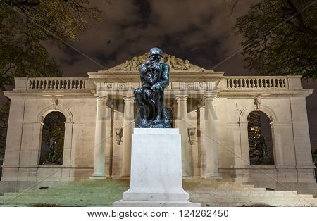 PHILADELPHIA PA - NOVEMBER 10, 2012: Statue of The Thinker at the Rodin Museum in Philadelphia PA. The Rodin Museum is located on the Benjamin Franklin Parkway in Philadelphia