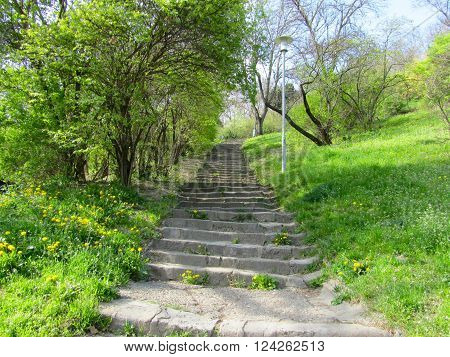Stone stairs up to the Gellert-hill in Budapest
