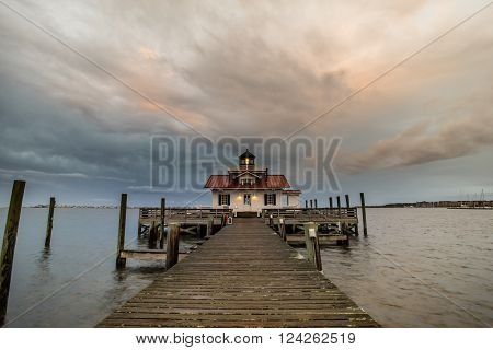 Sunset on Roanoke Marshes Lighthouse located along the Outer Banks in Manteo North Carolina