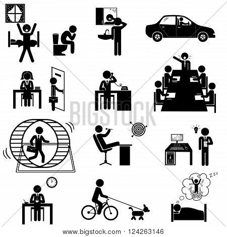Office business routine life. Vector icons set with sticks poster