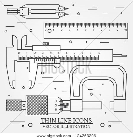 Set Vector Thin Line Icons Caliper, Ruler, Pair Of Compass  And  Micrometer. For Web Design And Appl