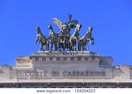 Quadriga monument as a detail of Supreme Court of Cassation in Rome in Italy. Corte Suprema di Cassazione in Italian. The Palace of Justice in English.