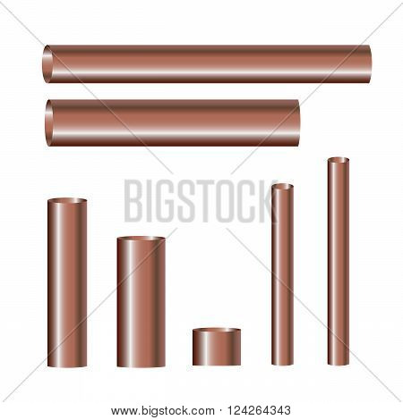 Copper pipes and hollow tons. 10 eps vector illustration