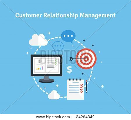 Customer Relationship Management. Vector illustration. Flat icons of target, objectives, support, deal.  Concept of the organization of data on work with clients. CRM and accounting system.
