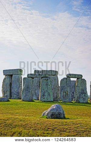 Stonehenge in Wiltshire of England. It is a prehistoric monument 8 miles north from Salisbury in the place called Wiltshire in South West England. It is under protection of UNESCO.