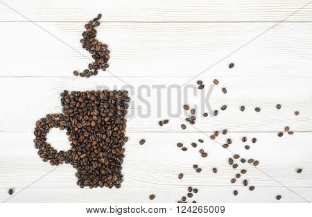 Top view coffee beans making a shape of mug hot coffee on wooden light surface. Illustration.