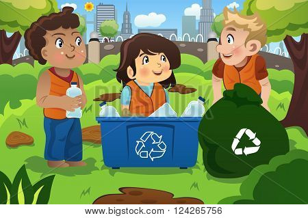 A vector illustration of kids recycles bottles into a recycling bin