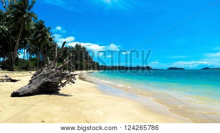 Pristine Wandoor Beach on a sunny day, Port Blair, Andaman and Nicobar Islands, India, Asia.