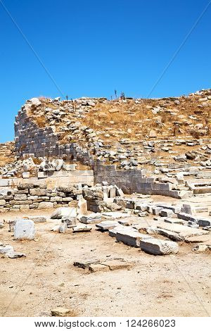 Archeology  In Delos   The   And Old Ruin Site