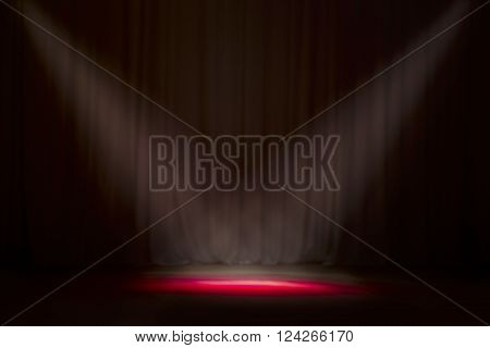 Close up of light beam at the empty stage with copy space