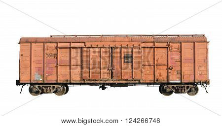 Old railway cargo wagon. Isolated on white background