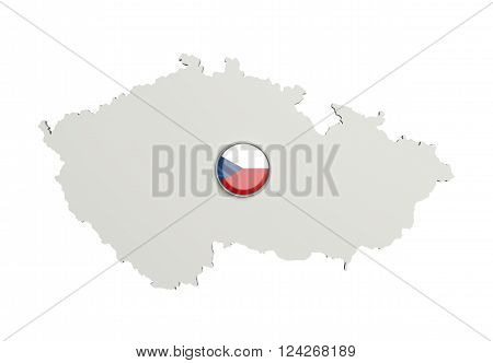 Silhouette Of Czech Rep Map With Czech Rep Flag On Button