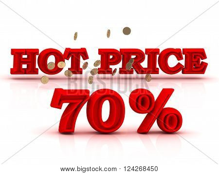 70 PERSENT HOT PRICE business icon red keywords isolated on white background