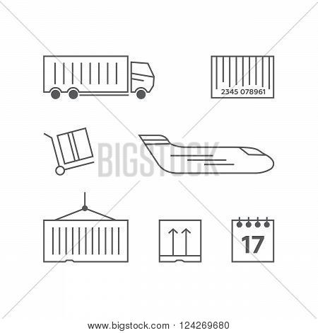 Logistics line icons set. Transportation delivery container box