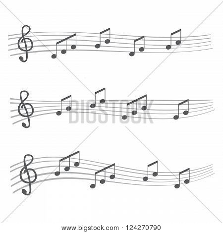 Musical notes and chords. Musical notes rounded corners style