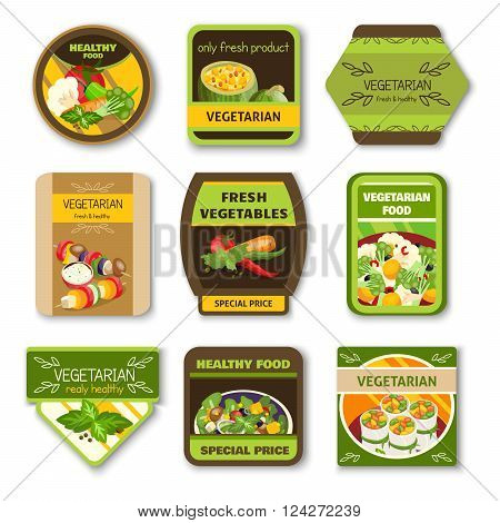 Vegetarian food colorful emblems with vegetables verdure spices for healthy lifestyle isolated vector illustration