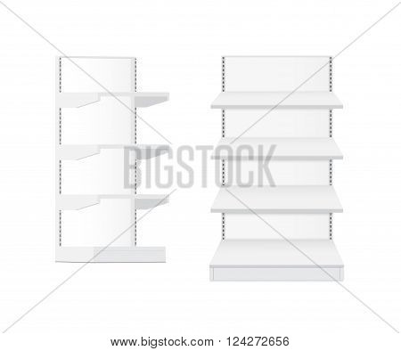 White empty supermarket retail store shelves isolated vector illustration