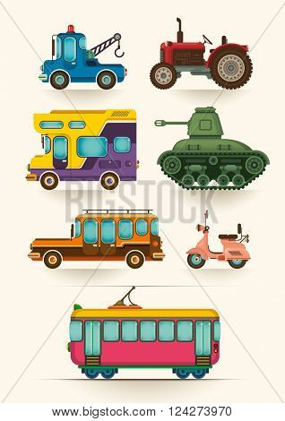 Set of various vehicles. Vector illustration.