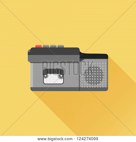 Old dictaphone flat icon with long shadow on orange background