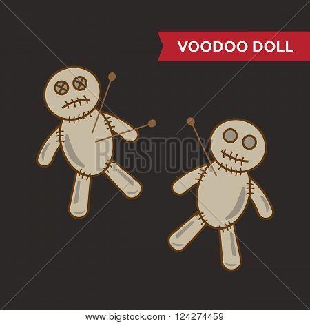 Voodoo doll vector set. 10 eps vector illustration