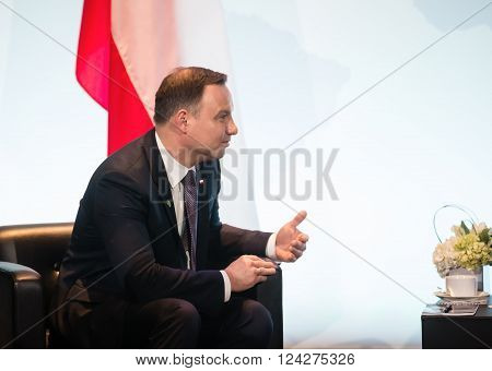 WASHINGTON D.C. USA - Apr 01 2016: President of Ukraine Petro Poroshenko and President of Poland Andrzej Duda at the Nuclear Security Summit in Washington