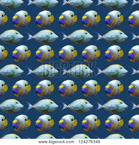 Seamless pattern with polygonal unicornfishes and angelfishes. Triangle low polygon style. Endless backdrop with colorful blue and yellow fishes on deep blue sea background