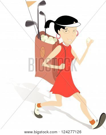Smiling woman with bag of golf clubs is going to play golf