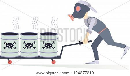 Toxic substance. Man in the gas mask carrying barrels with toxic substance