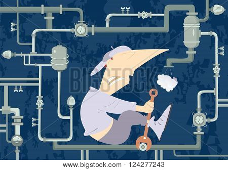 Mechanic Illustration. Comic mechanic hardly tightens the bolt and repairs pipe construction