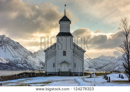 Gimsoy Church in the Lofoten Islands in the winter. It is a parish church in the municipality of Vagan in Nordland county Norway.