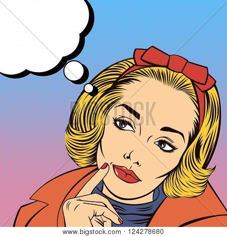 Woman Thinking with Bubble for Expression. Pop Art Banner