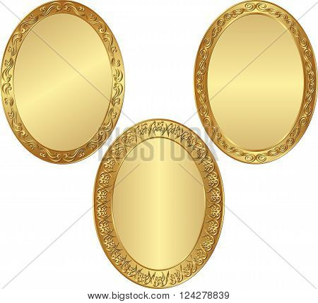 set of isolated golden oval frames - vector illustration