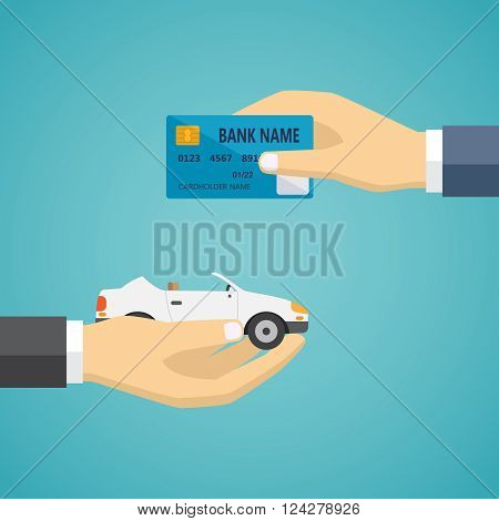 Human hands exchanging credit card and car, vector illustration on the green background.