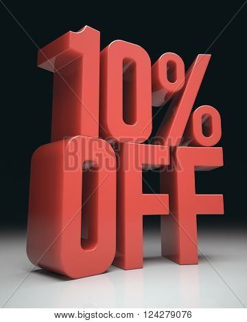 3D image concept. Discount percentage in red on white surface and black background. Clipping path included.