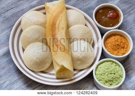Indian Food Idli and Dosa With Chutney and Sambar