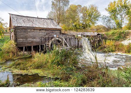 Ancient water mill from the village Krasnikovo. Kursk region. Russia. Built in 1861 poster