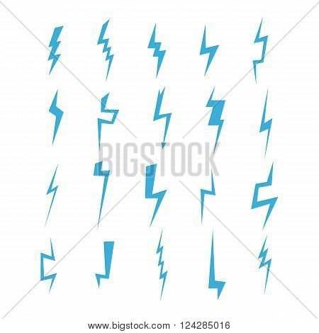 Lightning silhouette. Lightning bolt icon. Set of blue thunderbolt silhouettes. Lightning strike. Vector illustration.