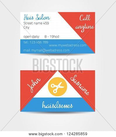 Two sided eccentric and extraordinary business cards template - eg. for hairdresser - all data are fictional