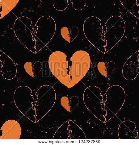 seamless pattern of broken hearts painted on grunge cement wall background with flame sparks. A love concept of bstract heart shapes with filled path , in different sizes and unfilled outlines.